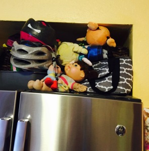 Toys being held in the fridge jail for the day. Judge me. I dare you.